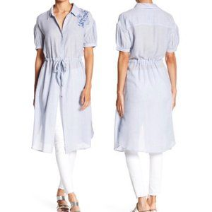 Susina Floral Embroidered Stripe Belted Tunic Top
